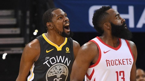May 22, 2018; Oakland, CA, USA; Golden State Warriors forward Kevin Durant (35) reacts beside Houston Rockets guard James Harden (13)  during the first quarter in game four of the Western conference finals of the 2018 NBA Playoffs at Oracle Arena. Mandatory Credit: Kyle Terada-USA TODAY Sports
