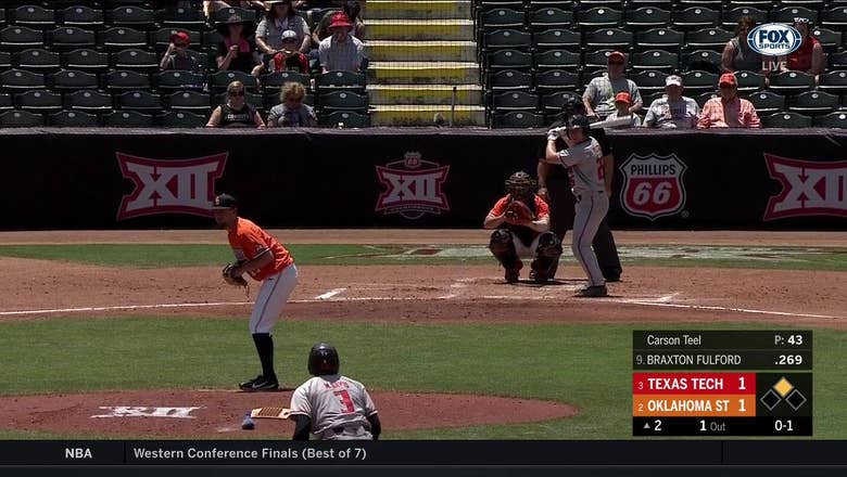WATCH: OSU's Colin Simpson throws out Tech's Michael Davis at 3rd | Big 12 Baseball Tournament