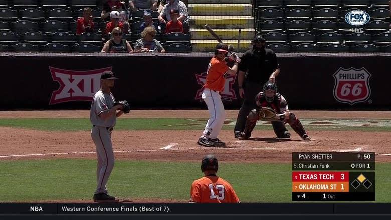 WATCH: Funk drives in run for Cowboys, trail Texas Tech 3-2 | Big 12 Baseball Tournament