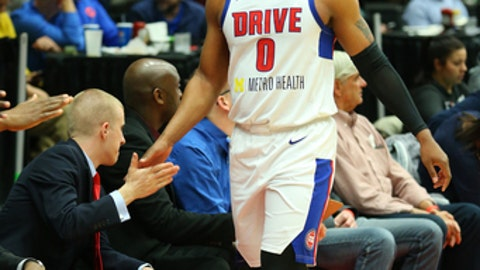 GRAND RAPIDS, MI - MARCH 23: Zeke Upshaw #0 of the Grand Rapids Drive during the game against the Greensboro Swarm at the DeltaPlex Arena on March 23, 2018 in Grand Rapids, Michigan. (Photo by Dennis Slagle/NBAE via Getty Images)
