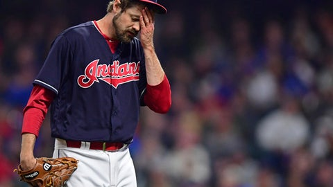 Cleveland Indians relief pitcher Andrew Miller walks to the dugout during the seventh inning of the team's baseball game against the Toronto Blue Jays, Friday, April 13, 2018, in Cleveland. The Blue Jays won 8-4. (AP Photo/David Dermer)