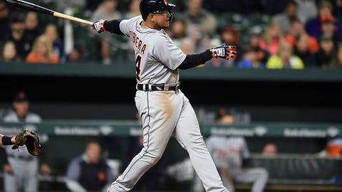 Detroit Tigers' Miguel Cabrera follows through on a two-run double against the Baltimore Orioles in the fourth inning of baseball game, Saturday, April 28, 2018, in Baltimore. (AP Photo/Gail Burton)