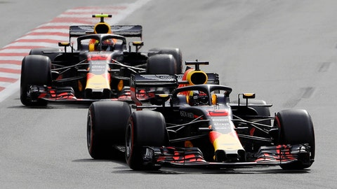 Australia driver Daniel Ricciardo, bottom, steers his Red Bull followed by his teammate Red Bull driver Max Verstappen, of the Netherlands, during the Azerbaijan Formula One Grand Prix, at the city circuit, in Baku, Azerbaijan, Sunday, April 29, 2018. (AP Photo/Luca Bruno)