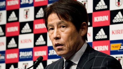 In this photo taken on Thursday, April 12, 2018, Japan Football Association (JFA) new coach Akira Nishino speaks during a press conference at its headquarters in Tokyo. (AP Photo/Shizuo Kambayashi)