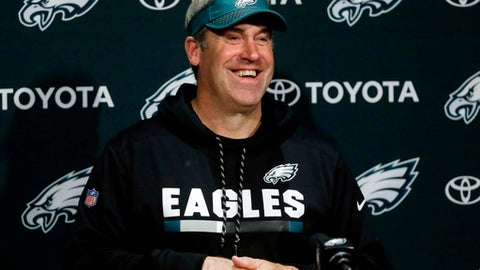 FILE - In this Nov. 29, 2017, file photo, Philadelphia Eagles head coach Doug Pederson appears at a news conference at the team's NFL football training facility in Philadelphia. Pederson, who led the Eagles to a dramatic Super Bowl win over the New England Patriots, is working on a memoir. Hachette Books told The Associated Press on Tuesday, May 1, 2018, that the book is called Fearless and is coming out Aug. 28. (AP Photo/Matt Rourke, File)