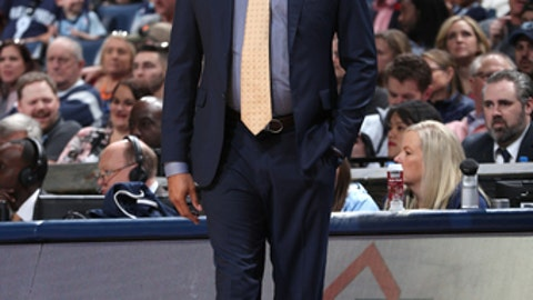 MEMPHIS, TN - APRIL 8: Head Coach J.B. Bickerstaff of the Memphis Grizzlies looks on during the game against the Detroit Pistons on April 8, 2018 at FedExForum in Memphis, Tennessee. (Photo by Joe Murphy/NBAE via Getty Images)