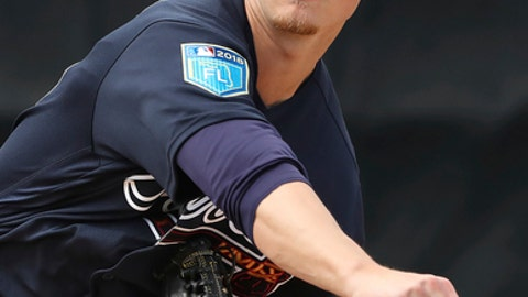 FILE - In this Feb. 21, 2018, file photo, Atlanta Braves pitcher Mike Soroka throws during baseball spring training, in Lake Buena Vista, Fla. The Braves have called up another of their top prospects, pitcher Mike Soroka, who is scheduled to start Tuesday night's, May 1, 2018, game against the New York Mets.(Curtis Compton/Atlanta Journal-Constitution via AP, File)