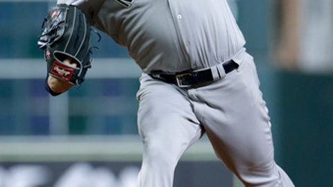 New York Yankees' starting pitcher Jordan Montgomery (47) throws against the Houston Astros during the first inning of a baseball game Tuesday, May 1, 2018, in Houston. (AP Photo/Michael Wyke)