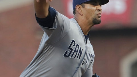 San Diego Padres pitcher Tyson Ross throws to a San Francisco Giants batter during the first inning of a baseball game in San Francisco, Tuesday, May 1, 2018. (AP Photo/Jeff Chiu)