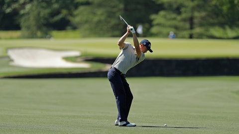 Justin Thomas hits to the seventh green during the pro-am of the Wells Fargo Championship golf tournament at Quail Hollow Club in Charlotte, N.C., Wednesday, May 2, 2018. (AP Photo/Chuck Burton)