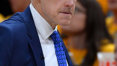 SALT LAKE CITY, UT - APRIL 27: Head coach Billy Donovan of the Oklahoma City Thunder looks on in the first half during Game Six of Round One of the 2018 NBA Playoffs against the Utah Jazz at Vivint Smart Home Arena on April 27, 2018 in Salt Lake City, Utah. (Photo by Gene Sweeney Jr./Getty Images)