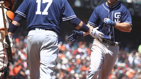 San Diego Padres' Matt Szczur, right, is congratulated by A.J. Ellis (17) after hitting a home run against the San Francisco Giants in the fifth inning of a baseball game Wednesday, May 2, 2018, in San Francisco. (AP Photo/Ben Margot)