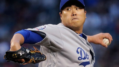 Los Angeles Dodgers starting pitcher Hyun-Jin Ryu throws to an Arizona Diamondbacks batter during the first inning of a baseball game Wednesday, May 2, 2018, in Phoenix. (AP Photo/Matt York)
