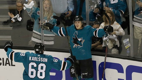 San Jose Sharks left wing Marcus Sorensen, right, from Sweden, celebrates with right wing Melker Karlsson (68), from Sweden, after scoring a goal against the Vegas Golden Knights during the first period of Game 4 of an NHL hockey second-round playoff series in San Jose, Calif., Wednesday, May 2, 2018. (AP Photo/Jeff Chiu)
