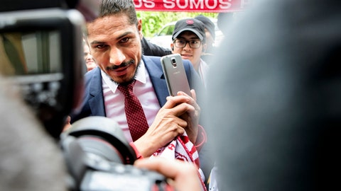 Jose Paolo Guerrero soccer player from Peru, arrives for a hearing at the international Court of Arbitration for Sport, CAS, on his doping ban in Lausanne, Switzerland, Thursday, May 3, 2018. (Jean-Christophe Bott/Keystone via AP)