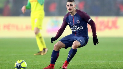 FILE - In this Sunday, Jan. 14, 2018 file photo, PSG's Italian midfielder Marco Verratti controls the ball during his French League One soccer match against Nantes, in Nantes, western France. Paris Saint-Germain midfielder Marco Verratti will miss the rest of the season after having an operation on his adductor tendons, it was reported on Thursday, May 3. 2018. (AP Photo/David Vincent, File)