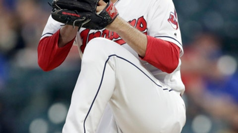 Cleveland Indians starting pitcher Adam Plutko prepares to deliver in the first inning in the second game of a baseball doubleheader against the Toronto Blue Jays, Thursday, May 3, 2018, in Cleveland. (AP Photo/Tony Dejak)