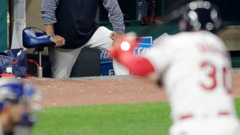 Cleveland Indians manager Terry Francona watches as Tyler Naquin bats in the fifth inning in the second game of a baseball doubleheader against the Toronto Blue Jays, Thursday, May 3, 2018, in Cleveland. (AP Photo/Tony Dejak)
