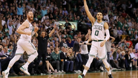 BOSTON, MA - MAY 3: Aron Baynes #46 of the Boston Celtics and Jayson Tatum #0 celebrate during Game Two of the Eastern Conference Second Round of the  2018 NBA Playoffs at TD Garden on May 3, 2018 in Boston, Massachusetts. The Celtics defeat the 76ers 108-103. (Photo by Maddie Meyer/Getty Images)