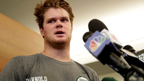 New York Jets quarterback Sam Darnold, who was selected third overall in the NFL draft, speaks to reporters at NFL football rookie camp, Friday, May 4, 2018, in Florham Park, N.J. (AP Photo/Julio Cortez)