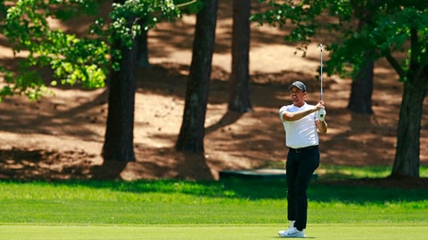 Jason Day, of Australia, watches his shot on the second hole during the second round of the Wells Fargo Championship golf tournament at Quail Hollow Club in Charlotte, N.C., Friday, May 4, 2018. (AP Photo/Jason E. Miczek)