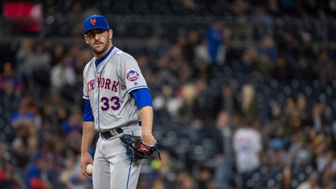 FILE - In this Friday, April 27, 2018, file photo, New York Mets relief pitcher Matt Harvey watches during the ninth inning of a baseball game against the San Diego Padres in San Diego. Mets general manager Sandy Alderson said Friday, May 4, 2018, that the 29-year-old right-hander refused a minor league assignment and will designated for assignment Saturday. After Harvey is designated, the Mets have seven days to trade him or release him. Because of Harvey's $5,625,000 salary, a trade may be difficult to work out unless the Mets agree to send cash as part of a deal. (AP Photo/Kyusung Gong, File)