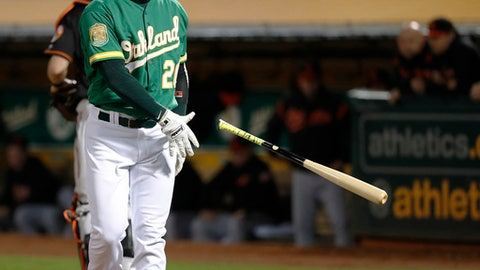 Oakland Athletics' Mark Canha (20) reacts after striking out against the Baltimore Orioles during the fourth inning of a baseball game Friday, May 4, 2018, in Oakland, Calif. (AP Photo/Tony Avelar)