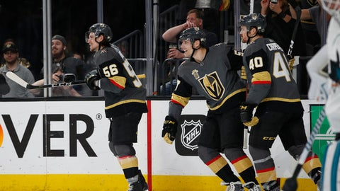 Vegas Golden Knights left wing Erik Haula (56) celebrates after scoring against the San Jose Sharks during the second period of Game 5 of an NHL hockey second-round playoff series Friday, May 4, 2018, in Las Vegas. (AP Photo/John Locher)