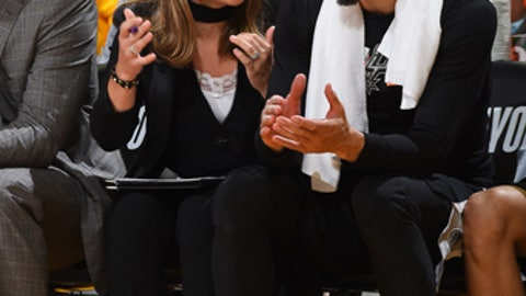OAKLAND, CA - APRIL 24: Assistant Coach Becky Hammon of the San Antonio Spurs speaks with Danny Green #14 of the San Antonio Spurs during the game against the Golden State Warriors in Game Five of Round One of the 2018 NBA Playoffs on April 24, 2018 at ORACLE Arena in Oakland, California. (Photo by Andrew D. Bernstein/NBAE via Getty Images)