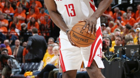 SALT LAKE CITY, UT - MAY 4: James Harden #13 of the Houston Rockets prepares to pass the ball during the game against the Utah Jazz during Game Three of the Western Conference Semifinals of the 2018 NBA Playoffs on May 4, 2018 at the Vivint Smart Home Arena Salt Lake City, Utah. (Photo by Melissa Majchrzak/NBAE via Getty Images)