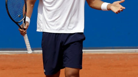 Chung Hyeon of South Korea reacts during his semifinal match against Alexander Zverev of Germany at the ATP tennis tournament in Munich, Germany, Saturday, May 5, 2018. Zverev won 7-5 and 6-2. (AP Photo/Matthias Schrader)