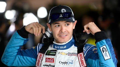Kyle Larson gets ready for practice for the NASCAR Cup series auto race, Saturday, May 5, 2018, at Dover International Speedway in Dover, Del. (AP Photo/Nick Wass)