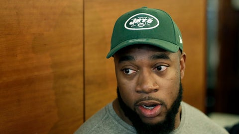 New York Jets' Nathan Shepherd, who was drafted in the third round of the 2018 draft, speaks to reporters during NFL rookie camp, Saturday, May 5, 2018, in Florham Park, N.J. (AP Photo/Julio Cortez)