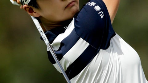 Sung Hyun Park, of South Korea, watches her tee shot on the second hole during the third round of the LPGA Tour ANA Inspiration golf tournament at Mission Hills Country Club, Saturday, March 31, 2018, in Rancho Mirage, Calif. (AP Photo/Chris Carlson)