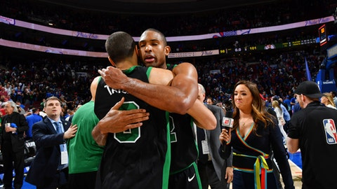 PHILADELPHIA, PA - May 5: Jayson Tatum #0 and Al Horford #42 of the Boston Celtics exchange a hug after beating the Philadelphia 76ers in Game Three of the Eastern Conference Semi Finals of the 2018 NBA Playoffs on May 5, 2018 in Philadelphia, Pennsylvania (Photo by Jesse D. Garrabrant/NBAE via Getty Images)