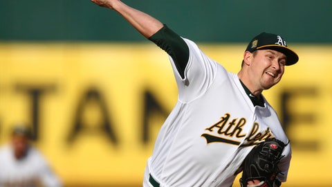 Oakland Athletics pitcher Trevor Cahill works against the Baltimore Orioles during the first inning of a baseball game Saturday, May 5, 2018, in Oakland, Calif. (AP Photo/Ben Margot)