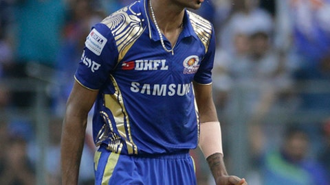 Mumbai Indian's Hardik Pandya reacts during the VIVO IPL cricket T20 match against Kolkata Knight Riders in Mumbai, India, Sunday, May 6, 2018. (AP Photo/Rafiq Maqbool)