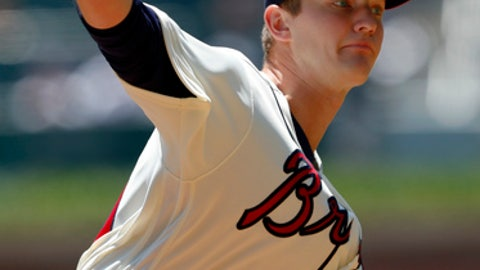 Atlanta Braves starting pitcher Mike Soroka delivers a pitch in the second inning of a baseball game against the San Francisco Giants Sunday, May 6, 2018, in Atlanta. San Francisco won 4-3. (AP Photo/John Bazemore)