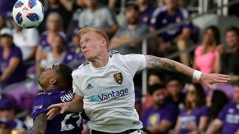 Orlando City's Stefano Pinho, left, and Real Salt Lake's Justen Glad battle for the ball on a header during the second half of an MLS soccer match, Sunday, May 6, 2018, in Orlando, Fla. (AP Photo/John Raoux)