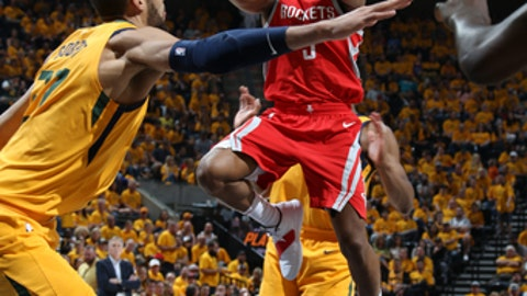 SALT LAKE CITY, UT - MAY 6:  Chris Paul #3 of the Houston Rockets goes to the basket against the Utah Jazz during Game Four of the Western Conference Semifinals of the 2018 NBA Playoffs on May 6, 2018 at the Vivint Smart Home Arena in Salt Lake City, Utah. (Photo by Melissa Majchrzak/NBAE via Getty Images)