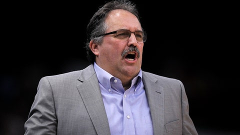 CHICAGO, IL - APRIL 11:  Head coach Stan Van Gundy of the Detroit Pistons reacts in the first quarter against the Chicago Bulls at the United Center on April 11, 2018 in Chicago, Illinois.