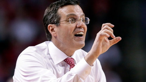 Nebraska coach Tim Miles calls instructions during the first half of the team's NCAA college basketball game against Indiana in Lincoln, Neb., Tuesday, Feb. 20, 2018. (AP Photo/Nati Harnik)
