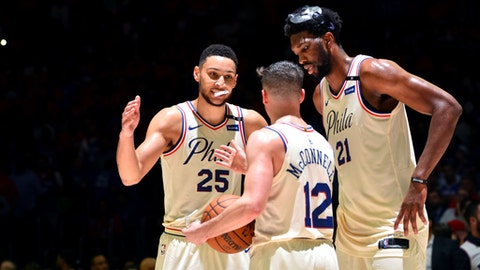 PHILADELPHIA, PA - MAY 7: T.J. McConnell #12 high fives his teammates Ben Simmons #25 and Joel Embiid #21 of the Philadelphia 76ers during Game Four of the Eastern Conference Semifinals of the 2018 NBA Playoffs on May 5, 2018 at Wells Fargo Center in Philadelphia, Pennsylvania. (Photo by Jesse D. Garrabrant/NBAE via Getty Images)