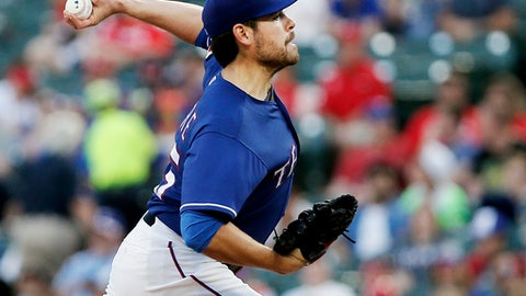 Texas Rangers starting pitcher Matt Moore (55) throws during the third inning of a baseball game against the Detroit Tigers, Monday, May 7, 2018, in Arlington, Texas. (AP Photo/Brandon Wade)