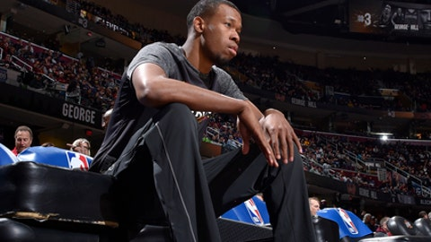 CLEVELAND, OH - MARCH 1:  Rodney Hood #1 of the Cleveland Cavaliers looks on before the game against the Philadelphia 76ers on March 1, 2018 at Quicken Loans Arena in Cleveland, Ohio. (Photo by David Liam Kyle/NBAE via Getty Images)