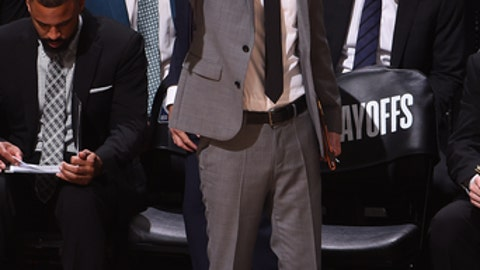 SAN ANTONIO, TX - APRIL 19:  James Borrego assistant coach of the San Antonio Spurs looks on during the game against the Golden State Warriors in Game Three of Round One of the 2018 NBA Playoffs on April 19, 2018 at the AT&T Center in San Antonio, Texas.