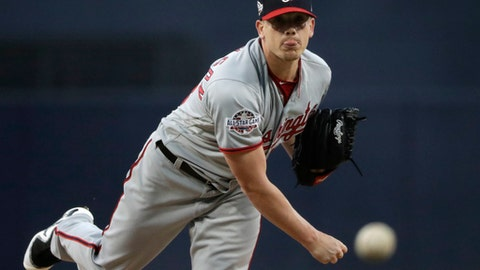 Washington Nationals starting pitcher Jeremy Hellickson works against a San Diego Padres batter during the first inning of a baseball game Tuesday, May 8, 2018, in San Diego. (AP Photo/Gregory Bull)