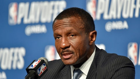 CLEVELAND, OH - MAY 7: Head Coach Dwane Casey of the Toronto Raptors speaks to the media after Game Four of the Eastern Conference Semifinals against the Cleveland Cavaliers during the 2018 NBA Playoffs on May 7, 2018 at Quicken Loans Arena in Cleveland, Ohio. (Photo by David Liam Kyle/NBAE via Getty Images)