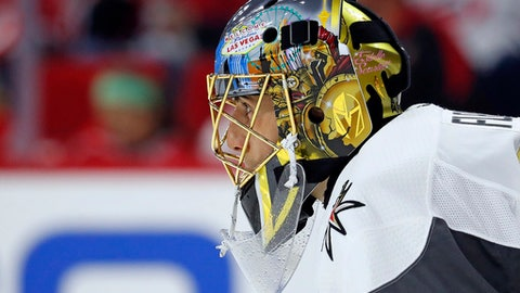FILE - In this Jan. 21, 2018, file photo,Vegas Golden Knights goaltender Marc-Andre Fleury (29) watches the action during the second period of an NHL hockey game against the Carolina Hurricanes in Raleigh, N.C. Fleury recaptured his form in helping the Penguins win the Cup again and has been one of the best in these playoffs with the Vegas Golden Knights, no surprise to former teammates who can tell when hes in the zone. (AP Photo/Karl B DeBlaker)