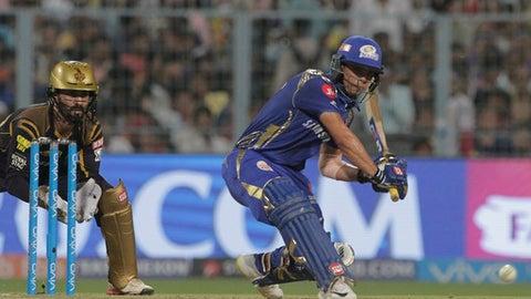 Mumbai Indians' Ishan Kishan bats during the VIVO IPL cricket T20 match against Kolkata Knight Riders in Kolkata, India, Wednesday, May 9, 2018. (AP Photo/Bikas Das)